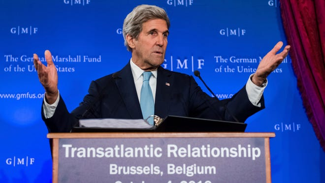 """U.S. Secretary of State John Kerry talks on the future of """"Transatlantic Relations"""" during an event hosted by The German Marshall Fund (GMF) and the U.S. Mission to the EU at Concert Noble in Brussels, Tuesday, Oct. 4, 2016."""