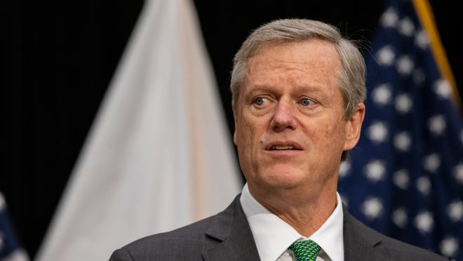 """Gov. Charlie Baker: """"It is appalling and outrageous that anyone would suggest, even for a minute, that if they lose an election, they're not going to leave. Period."""""""