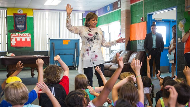 New Mexico Gov. Susana Martinez — during a visit to the Boys and Girls Club of Las Cruces — asks a group of about 80 children to pledge to read at least 30 minutes a day as part of the 2016 New Mexico True Summer Reading Challenge, June 9, 2016.