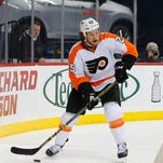 Philadelphia Flyers center Ryan White (25) during the first period of a game against the New York Islanders.