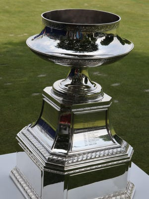 The Championship trophy, with Inbee Park's name winning the last two, is seen on the course during action in the first round of the KPMG Women's PGA Championship at the Westchester Country Club in Harrison, June 11, 2015.