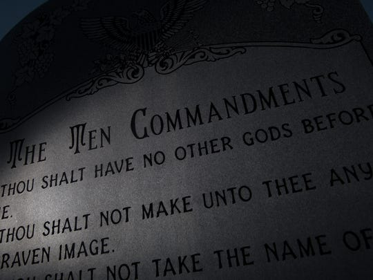 The Bloomfield Ten Commandments is pictured Nov. 10 at Bloomfield City Hall.