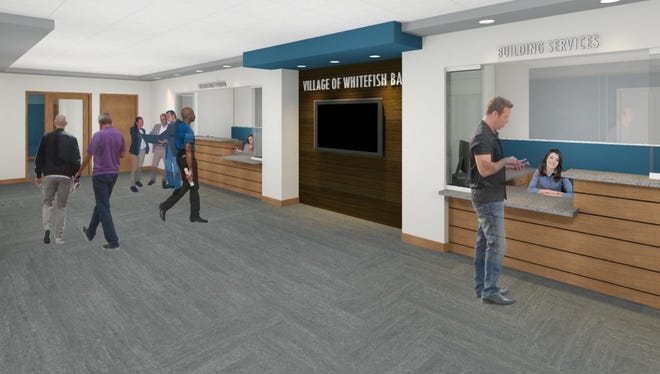 Bray Architects created this rendering of what the new Whitefish Bay Village Hall lobby will look like after renovations are completed in fall 2018.