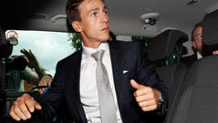 Danish golfer and Ryder Cup winner Thorbjorn Olesen, leaves Uxbridge Magistrates court in London, Wednesday, Aug. 21, 2019. Olesen has pleaded not guilty to charges relating to an alleged sexual assault, being drunk on an aircraft and common assault, after he was arrested in July 2019, on flying into London's Heathrow airport from Nashville, USA.(AP Photo/Alastair Grant)
