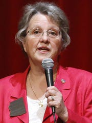 """Schools chief Diane Douglas speaks during her  """"We Are Listening"""" tour at Glendale High School Saturday, May 2,  2015."""