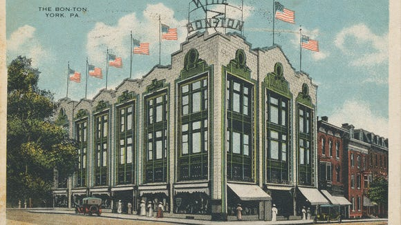 """This postcard is of The Bon-Ton's former location in downtown York. It's a """"Commercialchrome"""" card published by Fair & Square Bargain House of York, PA. It was mailed by Lucy Snyder of East King Street, York, to Freda Hatt of Annville, Ohio, with a postmark date of Oct. 18, 1917. Postage cost? One cent."""