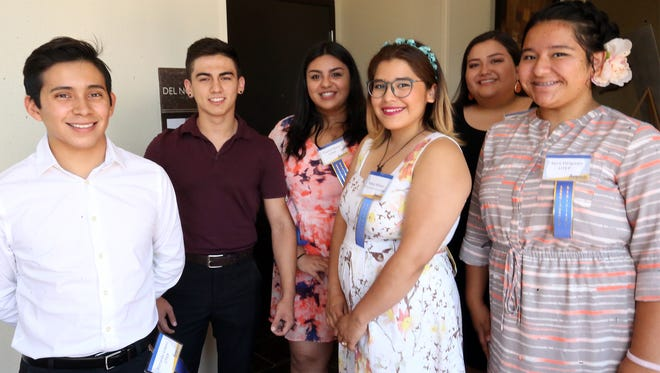 Six of the 21 scholarship recipients of the El Paso Hispanic Chamber of Commerce Educational Development Foundation's 2017 Scholarship Banquet are from left: Ronald Lopez, Isaiah Valdez, Crystal Nava Katya Wilson, Karen Fierro and Kyra Delgado.