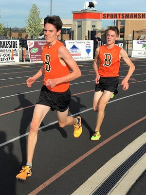 Sophomores Zach Stewart (left) and Jack Spamer hope to get Brighton back to the state cross country meet this fall.