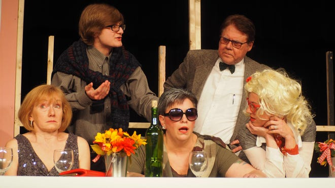 """Pictured in a scene from """"Dinner by Eight, Dead by Nine"""" are, front row, from left: Patti Cobb as Hadley, Laura McCauley as Eleanor VanHeusen, Theresa Amerling as Maggie. Back row, from left, are Jonny Stutzman as Desmond and Dave Wright as Dr. Rank."""