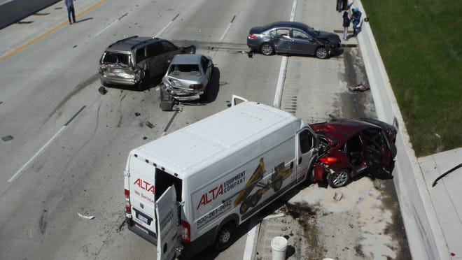 A five-car accident Friday morning took place at westbound I-96 near Middlebelt.