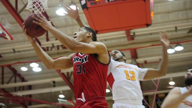 Drury forward Joshua Palmer in Saturday's game against University of Missouri-St. Louis.