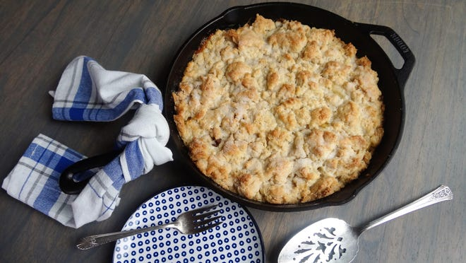 This cobbler topping is similar to a biscuit topping but a bit denser, and a little crunchy on the edges. It goes really well with any fruit filling.