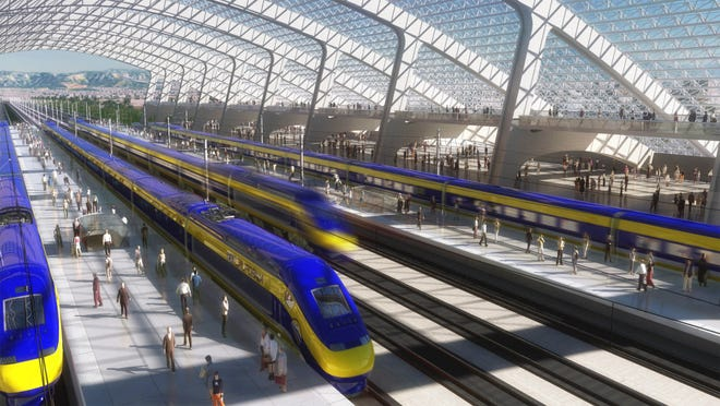 This image provided by the California High Speed Rail Authority shows an artist's rendering of a high-speed train station.