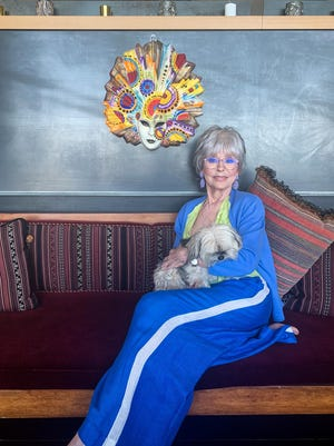 Rita Moreno poses for a portrait in her home in Berkeley, California on July 27, 2020. Moreno was born in Puerto Rico and brought to New York as a child, and has since made a name for herself in entertainment, winning an Emmy, Grammy, Oscar, and Tony, over the course of her more than 70-year career, making her the first Latin American woman to E.G.O.T. She is photographed remotely via FaceTime on an iPad from her home with assistance from Cameron Fisher.