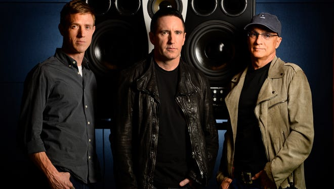 From left: Beats Music's Ian Rogers, Trent Reznor and Jimmy Lovine at the company's Santa Monica offices.