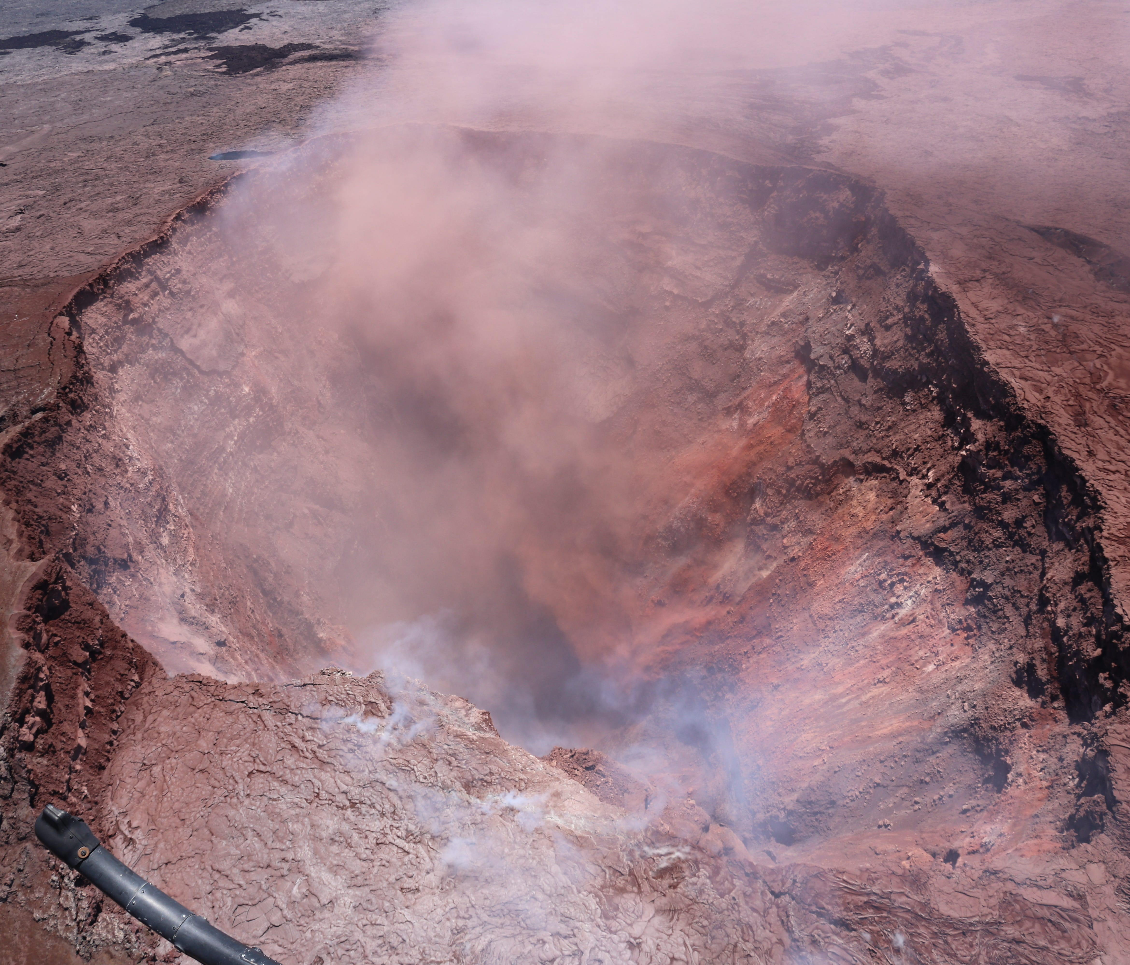 A handout photo made available by the U.S. Geological Survey (USGS) shows the collapsed crater of Pu'u 'O'o, in the eastern Rift Zone of Kilauea volcano, near Pahoa, Hawaii, on May 3, 2018.