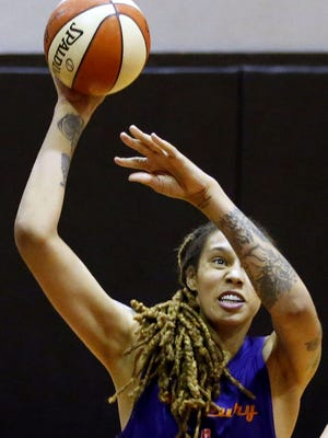 WNBA Mercury center Brittney Griner practices during training camp at Talking Stick Resort Arena in Phoenix on May 10, 2018.