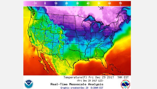 Forecasted temperatures Friday morning.