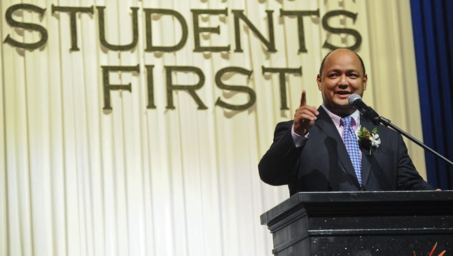 In this November 2013 file photo, Jon Fernandez, Guam Department of Education superintendent, delivers the State of Public Education Address at the Southern High School Fine Arts Auditorium in Santa Rita.
