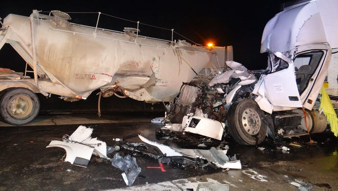 One man was killed when two semitrailers collided early  Wednesday morning Aug. 19 along Interstate 41 near Lomira.