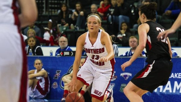 University of Southern Indiana's Kaydie Grooms helps her team to a GLVC Tournament win over Missouri-St. Louis in St. Charles, Missouri on March 6, 2015.