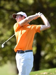 Central York's Joe Parrini tees off during the YAIAA golf team championship Wednesday, Sept. 27, 2017, at Briarwood Golf Club.