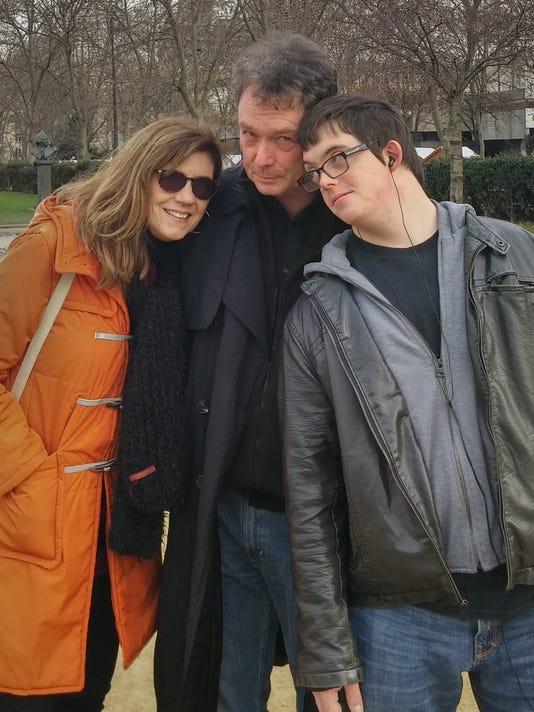 Jamie Bérubé and his parents, Janet Lyon and Michael Bérubé.