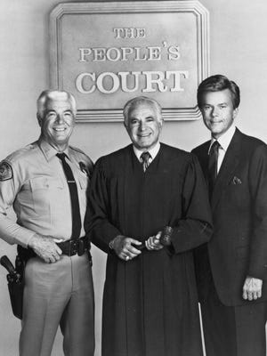 """Judge Joseph Wapner presided over """"The People's Court"""" during its initial run from 1981 to 1993. He is pictured with bailiff Rusty Burrell and court reporter Doug Llewellyn. Wapner died Feb. 26, 2017. ."""
