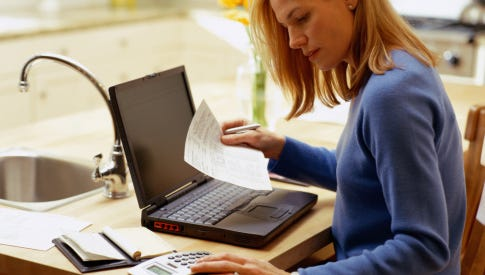 Woman with Laptop, Working From Home