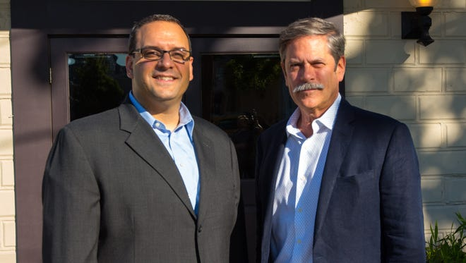 Eagle Theatre Managing Director Jim Donio and Wyncote Foundation Board Member Leonard C. Haas. On Thursday, the Wyncote Foundation announced a large donation to the Eagle Theatre.