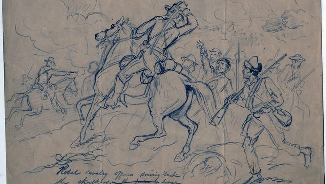 """Henri Lovie, General Asboth and Staff on Horseback, Dec. 10, 1861. This drawing is part of """"Civil War Drawings from the Becker Collection,"""" on view at the Mississippi Museum of Art."""