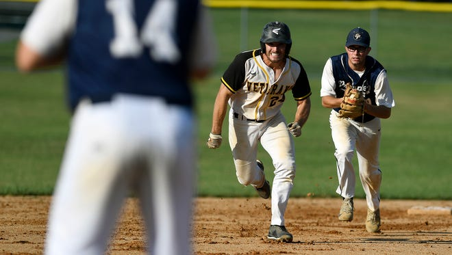 Stewartstown's Cody Brittain is chased by East Prospect's Bren Taylor in a file photo. Brittain pitched a shutout on Tuesday vs. the Pistons.