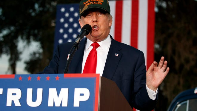 Republican presidential candidate Donald Trump speaks during a campaign rally, Tuesday, Oct. 25, 2016, in Tallahassee, Fla.