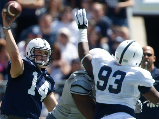 """Antoine """"Salt"""" White (93) needs to be a steadying force inside for the Nittany Lions. They're forced to replace three NFL-bound stars on their defensive line."""