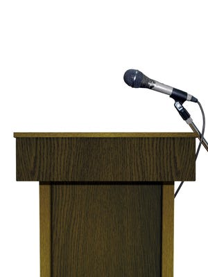 Podium with Microphone over White