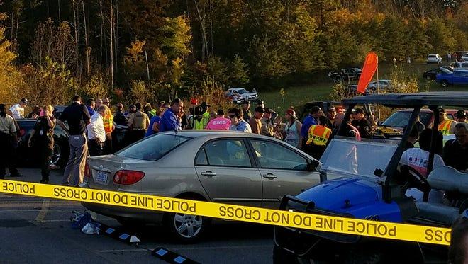 A vehicle struck pedestrians near the helipad at Martinsville Speedway on Sunday.