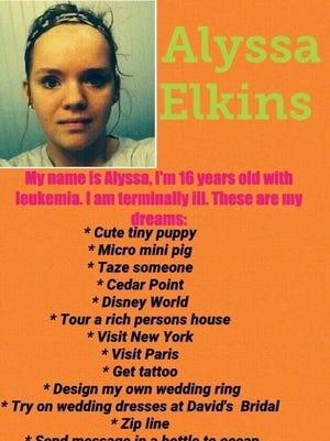 Alyssa Elkins, 16, has a list of dreams to accomplish.
