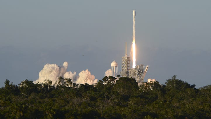 A SpaceX Falcon 9 lifts off from Kennedy Space Center