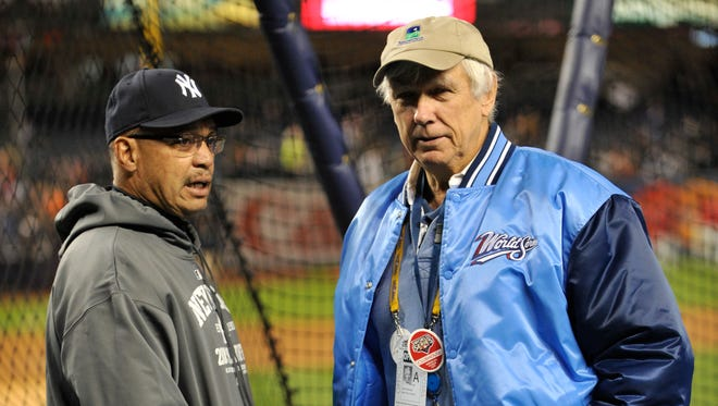 """Gene Michael, here with Reggie Jackson at the 2009 World Series, oversaw the development of the Yankees' """"Core Four."""""""