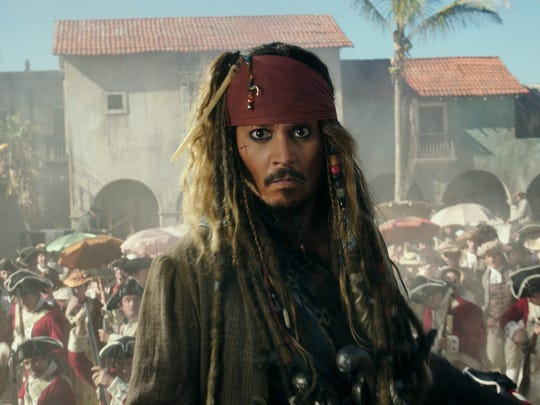 "The villainous Captain Salazar pursues Jack Sparrow (Johnny Depp) as he searches for the trident used by Poseidon in ""Pirates of the Caribbean: Dead Men Tell No Tales."""