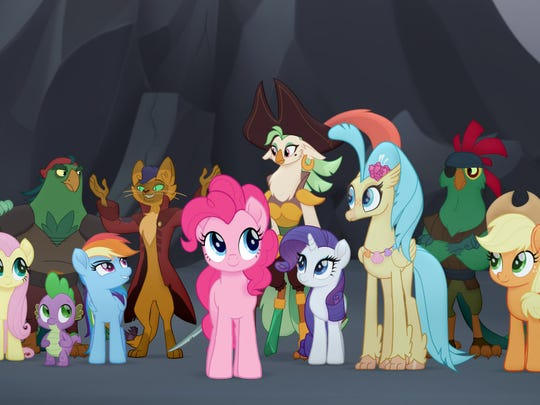From L to R: Fluttershy (Andrea Libman), Spike (Cathy