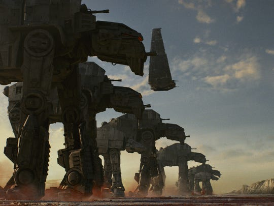 """AT-M6 Walkers, along with Kylo Ren's shuttle in """"Star Wars: The Last Jedi."""" ."""
