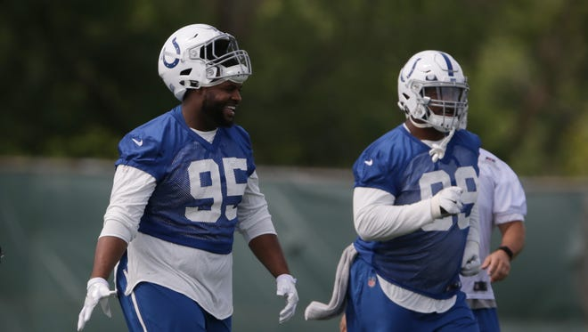 Colts defensive tackle Johnathan Hankins (95) and defensive tackle T.Y. McGill (99) at the practice  at the Colts Complex in May.