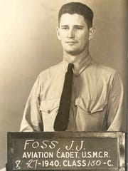 Aviation Cadet Joe Foss is pictured during flight training at Pensacola Naval Air Station in 1940.  Two years later, his actions as a Marine fighter pilot over Guadalcanal resulted in his receiving the Medal of Honor.
