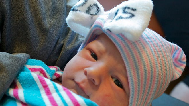 Kinley Melton was the first baby born at Salem Hospital in 2015. She arrived at 12:46 a.m. weighing 6 pounds 13 ounces.