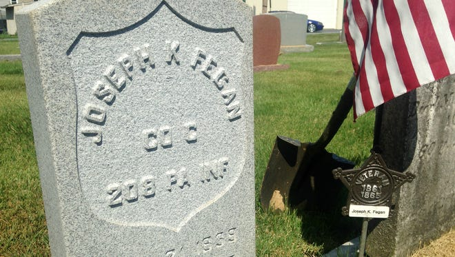 A new gravestone provided by the Sons of Union Veterans of the Civil War for Civil War veteran Joseph K. Fegan, who is buried in Annville's Evergreen Cemetery.
