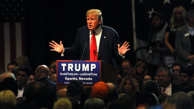 Republican presidential candidate Donald Trump speaks during a campaign rally at the Nugget Hotel and Casino in Sparks, Nev. on Oct. 29, 2015.