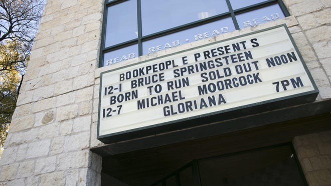 The marquee at BookPeople advertises what was happening in December 2016. Booksellers in Austin and across the nation are concerned about the pandemic's effect on book supplies for holiday sales.