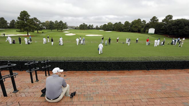 Seats once filled by patrons on the practice range at Augusta National Golf Club were nearly empty during the Nov. 10 practice round for the Masters Tournament.