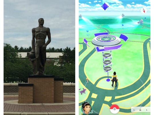A view of how the Sparty Statue looks in the map mode of Pokemon Go. It is a gym where players can battle Pokemon and take it over for their faction.